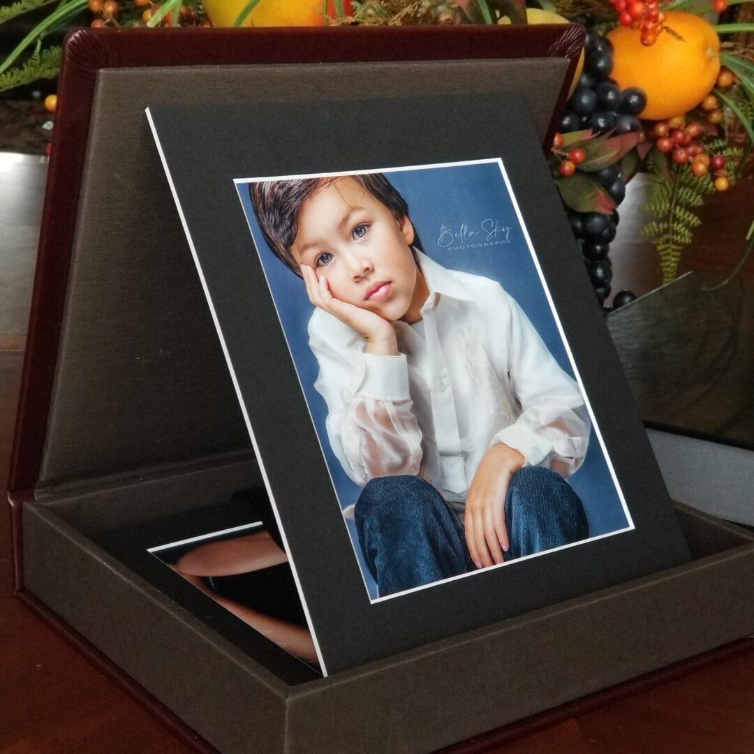 matted children portrait photo display